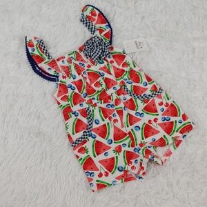 NWT Baby Girl Romper Fruit Watermelon